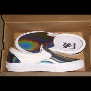 NEW Vans Slip-On Pro Iridescent Silver Shoe